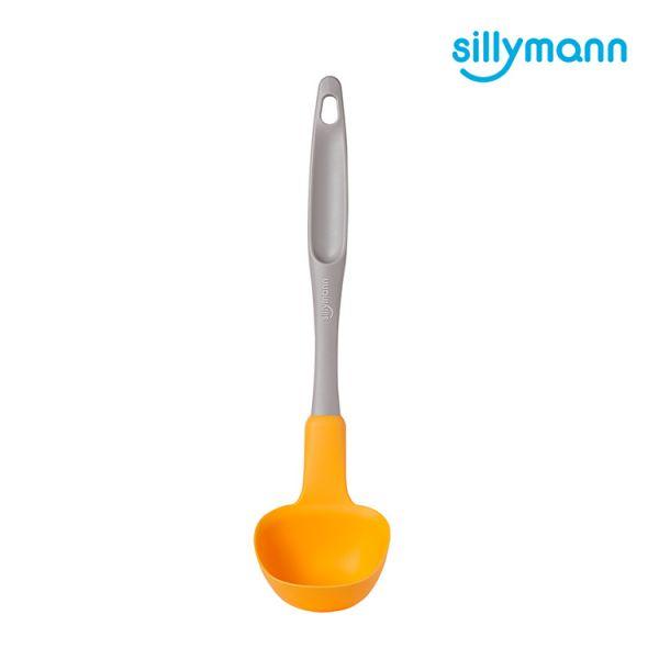 【韓國sillymann】 100%鉑金矽膠長柄湯勺(大)(橘黃)