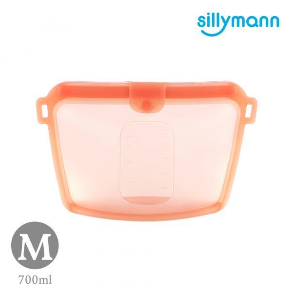 【韓國sillymann】 100%鉑金矽膠密封袋-700ml(橘紅)