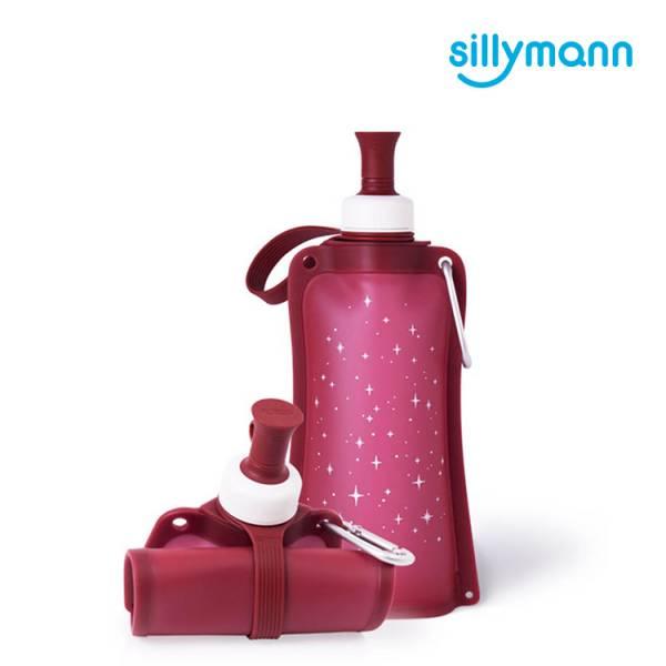 【韓國sillymann】 100%鉑金矽膠時尚便攜捲式鉑金矽膠水瓶-550ml(星空紅)