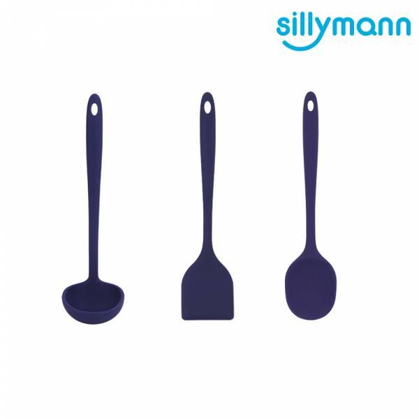 【韓國sillymann】100%鉑金矽膠精品一體成型三件組(藍煎鏟+藍拌炒勺+藍湯勺)