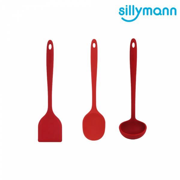 【韓國sillymann】100%鉑金矽膠精品一體成型三件組(紅煎鏟+紅拌炒勺+紅湯勺)