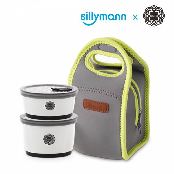 【韓國sillymann】精品陶瓷環保餐盒+專用保溫袋二件組(100%鉑金矽膠上蓋)