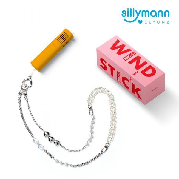 【韓國sillymann】攜帶型風棒電扇+ELYONA 飾品背鏈(螢光橘)