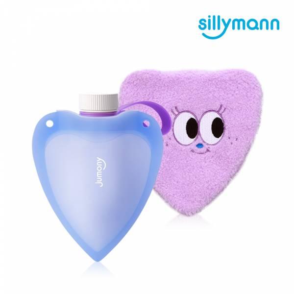 【韓國sillymann】100%鉑金矽膠愛心保溫水瓶250ml(藍)