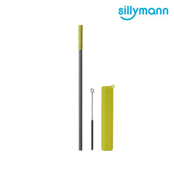 【韓國sillymann】 100%鉑金矽膠攜帶型吸管套裝(橄欖綠)