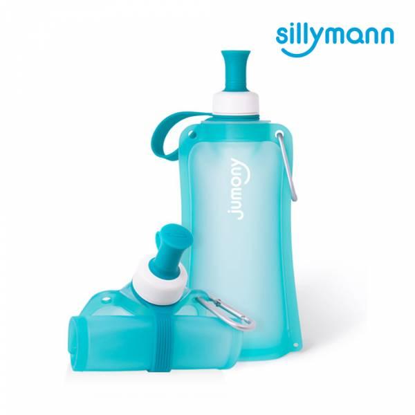 【韓國sillymann】 100%鉑金矽膠簡約便攜捲式鉑金矽膠水瓶-550ml(薄荷藍)