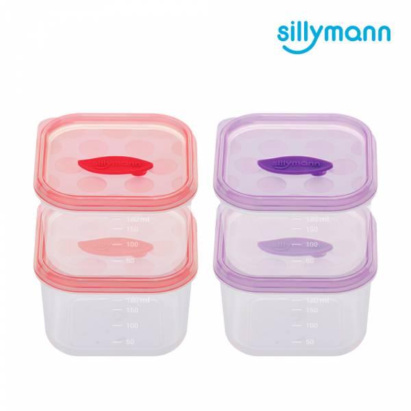 【韓國sillymann】 100%鉑金矽膠副食品保鮮盒(180ml)-2入裝