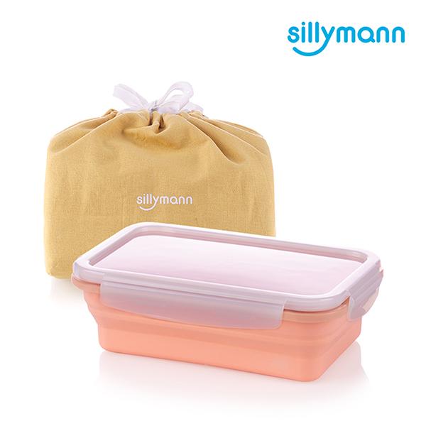 【韓國sillymann】100%鉑金矽膠折疊式伸縮便當盒(蜜桃粉)