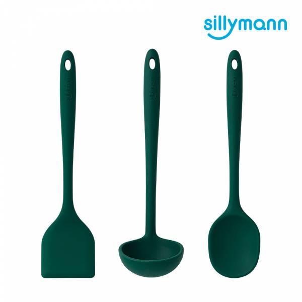 【韓國sillymann】100%鉑金矽膠精品一體成型三件組(煎鏟+拌炒勺+湯勺)(小松綠)