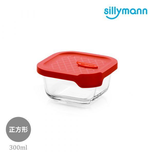 【韓國sillymann】 100%鉑金矽膠微波烤箱輕量玻璃保鮮盒(正方型300ml)(紅)
