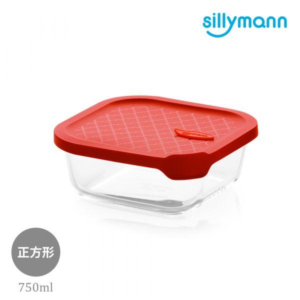 【韓國sillymann】 100%鉑金矽膠微波烤箱輕量玻璃保鮮盒(正方型750ml)(紅)