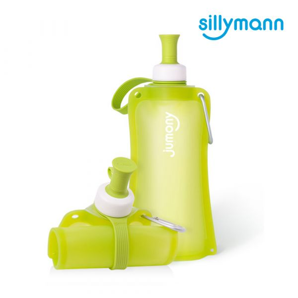 【韓國sillymann】 100%鉑金矽膠簡約便攜捲式鉑金矽膠水瓶-550ml(蘋果綠)
