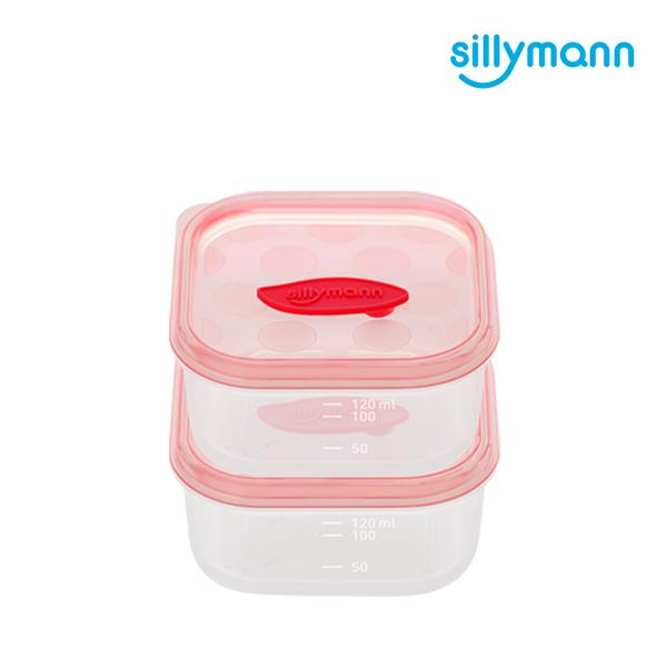 【韓國sillymann】 100%鉑金矽膠副食品保鮮盒(120ml)-2入裝(粉)