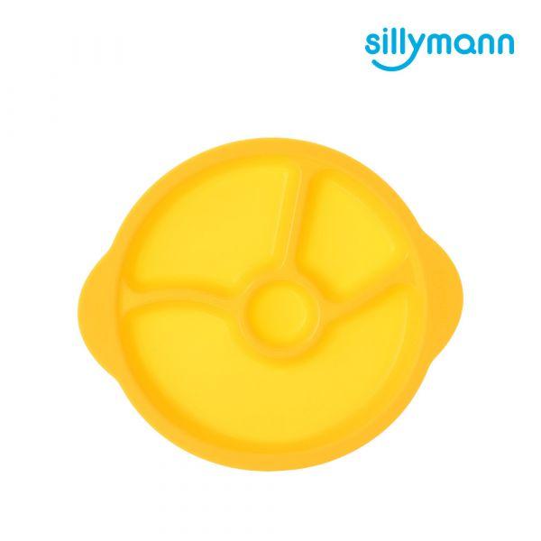 【韓國sillymann】 100%鉑金矽膠防滑幼兒學習餐盤(黃)