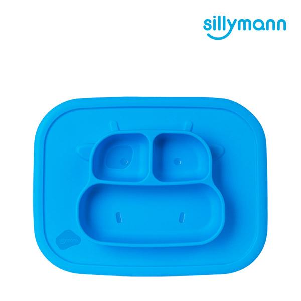【韓國sillymann】 100%鉑金矽膠乳牛防滑餐盤(藍)