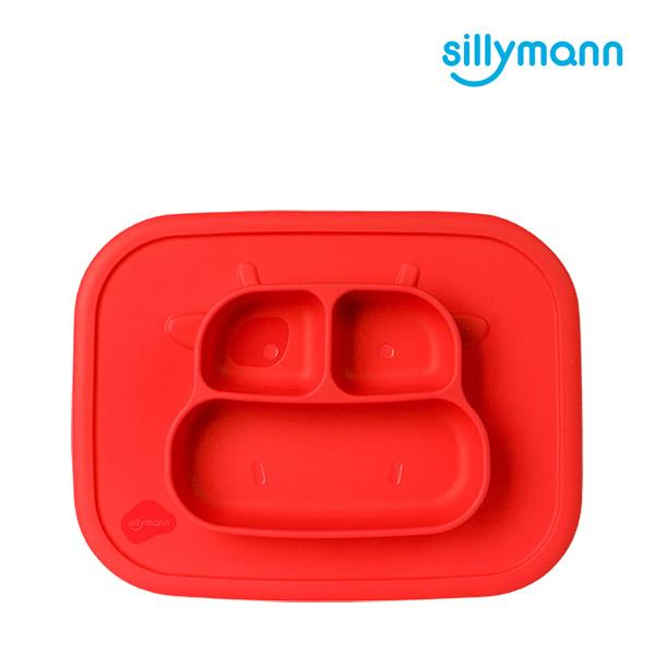 【韓國sillymann】100%鉑金矽膠乳牛防滑餐盤(紅)