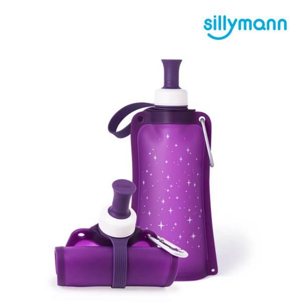 【韓國sillymann】 100%鉑金矽膠時尚便攜捲式鉑金矽膠水瓶-550ml(星空紫)