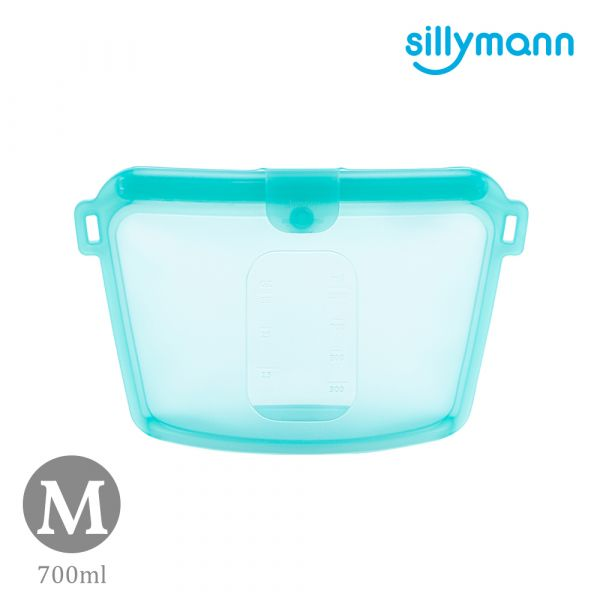 【韓國sillymann】 100%鉑金矽膠密封袋-700ml(藍)