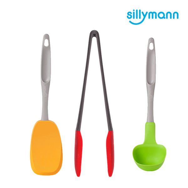 【韓國sillymann】家庭必備組(綠長柄湯勺(大)+橘黃長柄翻炒勺+ 紅萬用料理夾)