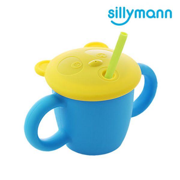 【韓國sillymann】100%鉑金矽膠 兒童專用雙手握把喝水學習杯(220ml)(寶貝藍)