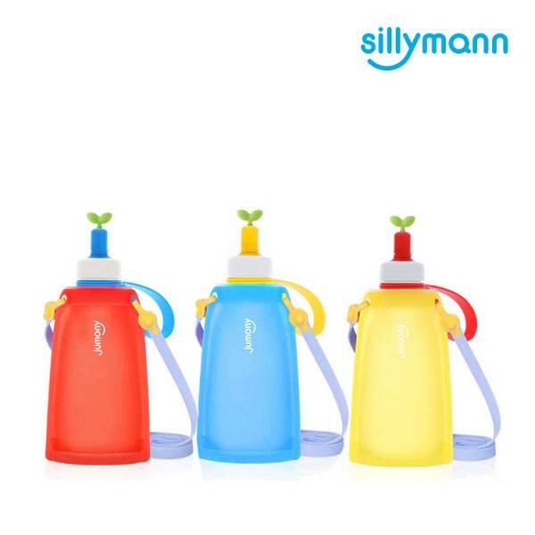 【韓國sillymann】 100%鉑金矽膠兒童便攜捲式鉑金矽膠水瓶-300ml