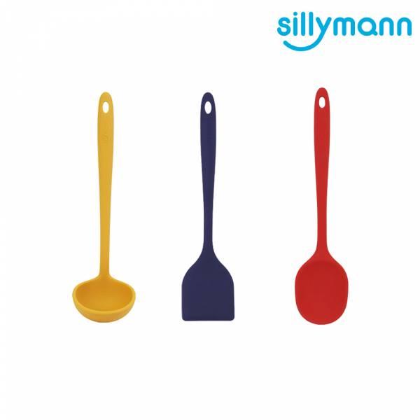 【韓國sillymann】100%鉑金矽膠精品一體成型三件組(藍煎鏟+紅拌炒勺+黃湯勺)