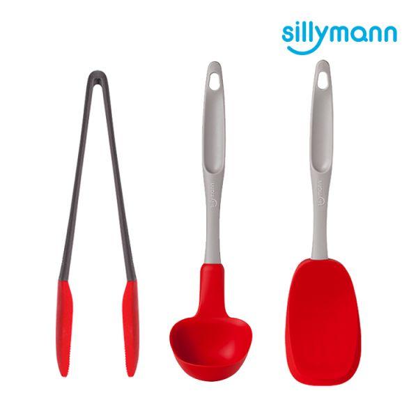 【韓國sillymann】家庭必備組(紅長柄湯勺(大)+紅長柄翻炒勺+ 紅萬用料理夾)