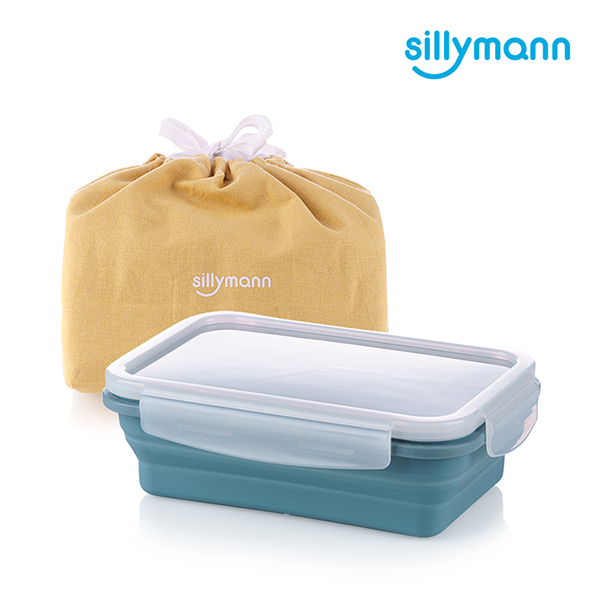 【韓國sillymann】100%鉑金矽膠折疊式伸縮便當盒(湖水藍)