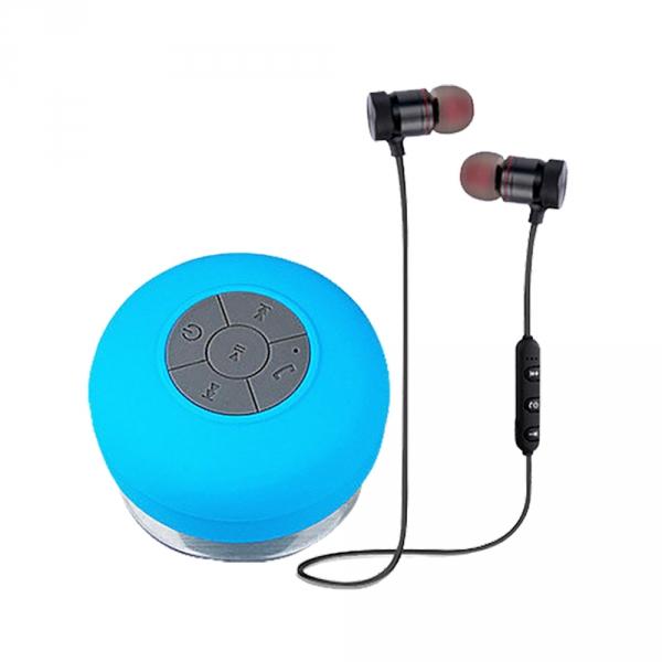 藍牙吸盤音響超值組(耳機*1+音響*1+耳機收納包*1) 藍牙耳機,防水音響,磁吸耳機,防水耳機