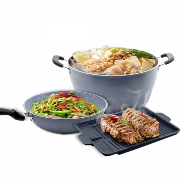 麦饭石多功能蒸炒锅具|麦饭石炒锅煎炒炖蒸炸一锅搞定(5件组)