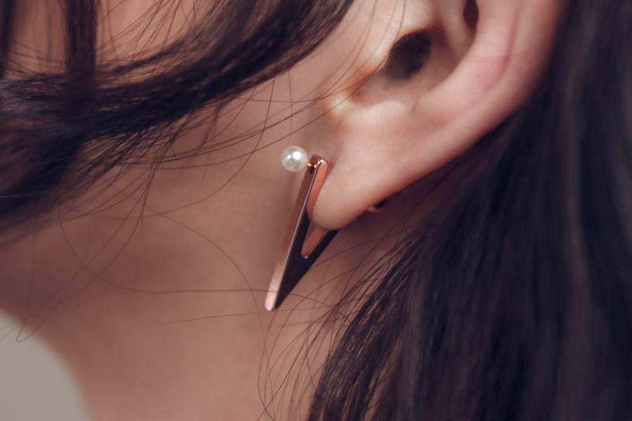 對稱耳環 - V字對稱三色 V字耳環 個性耳環 幾何耳環 抗敏耳環 特殊耳環 珍珠耳環 耳環