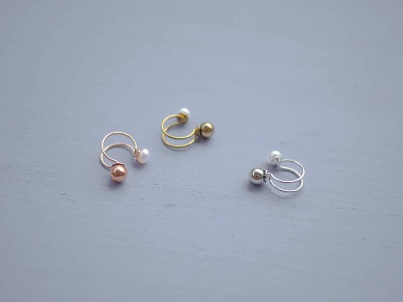 Hydromancy | 水占術系列 - 微光淚滴耳骨夾 * 三色 耳夾 耳骨夾 耳窩夾 耳環 珍珠 天然珍珠
