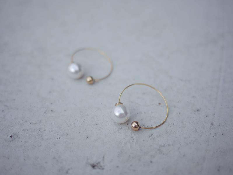 小圓弧 - 牛奶泡泡 * 幾何耳環