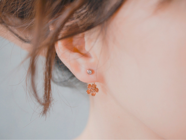 低語桔梗花 - 玫瑰金色 * 耳環 耳環 桔梗花