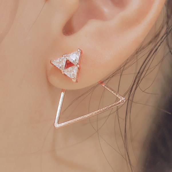 ONCE LITE | 空氣系 - 逆光耳環 三角形耳環 三角形飾品 幾何耳環 後扣耳環 玫瑰金耳環 耳環 鋯石 鋯石耳環