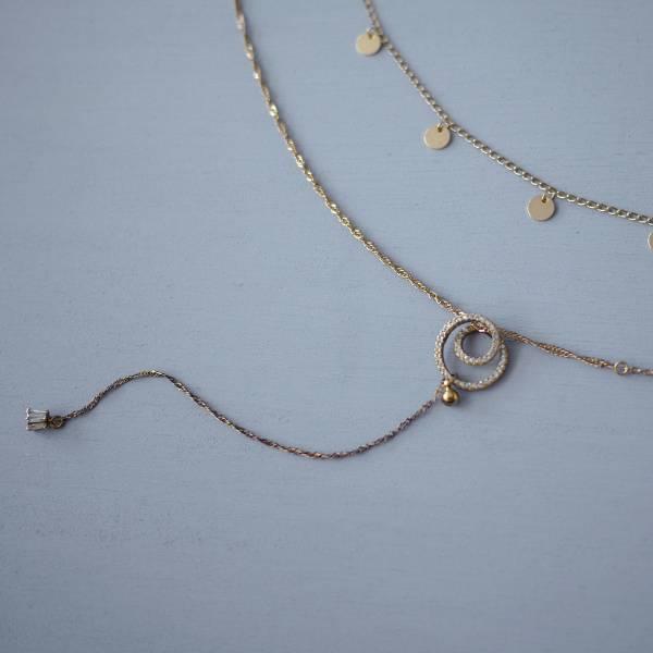 ASTROLOGY | 占星學系列 - 日蝕項鍊 * 兩色 y字鏈 多層次 項鍊 幾何項鍊 抗敏 飾品 鋯石項鍊 長項鍊 雙層項鍊 頸鏈