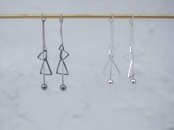 Alchemy | 煉金術系列 - 三角總和耳環 * 兩色  三角 幾何 垂墜式 耳環