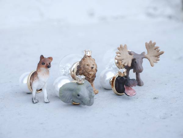 Mini Zoo- A series of prairies animals<once upon a time*earring> fox & elephant & lion & hippo & reindeer