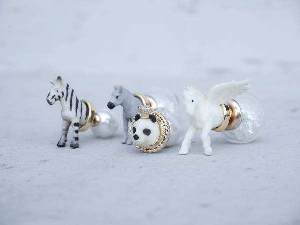 Mini Zoo-A series of tame animals <once upon a time*earring> Zebra & Donkey & Panda & Flying horse