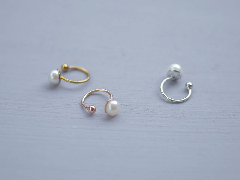 Hydromancy | 水占術系列 - 淚滴耳骨夾 * 三色 耳夾 耳骨夾 耳窩夾 耳環 珍珠 天然珍珠