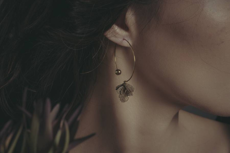 Herbology | 草藥學系列 - 鐵線蕨耳環 * 兩色 耳環 植物耳環 環型耳環