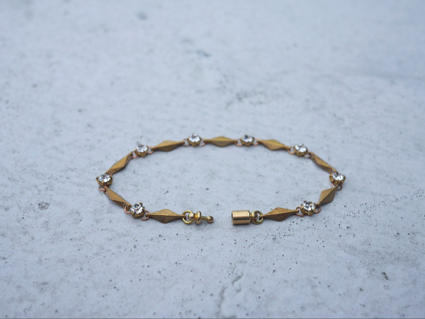 Twilight series-lozenge and cubic zirconia chain * bracelet brass  bracelet