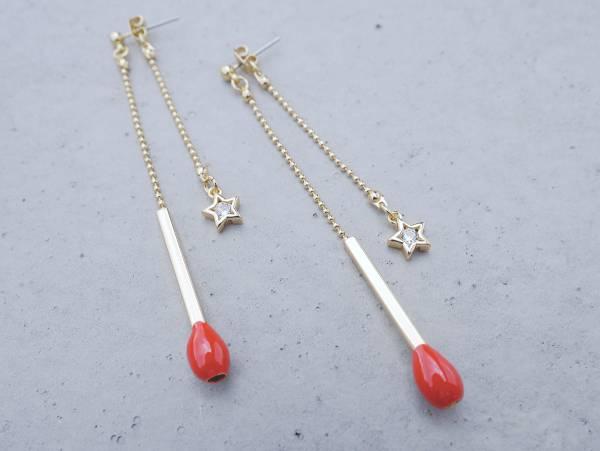 A Match耳環 - 兩色 賣火柴的小女孩 火柴棒 耳環