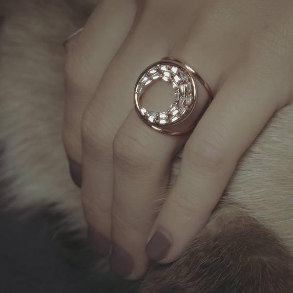 ASTROLOGY   占星學系列 - 月蝕戒指 * 兩色 ring 情人節禮物 戒指 新月 月亮 飾品 月亮戒指 玫瑰金   鋯石 飾品 鋯石戒指 黃銅戒指