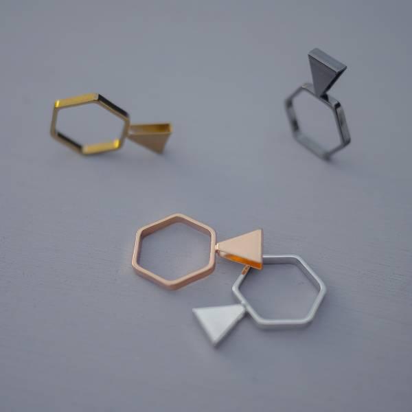 Telepathy Series| Telaesthesia – ring * 4 colours  ring 三角形 三角形飾品 個性戒指 幾何戒指 戒指 立體戒指 設計款戒指