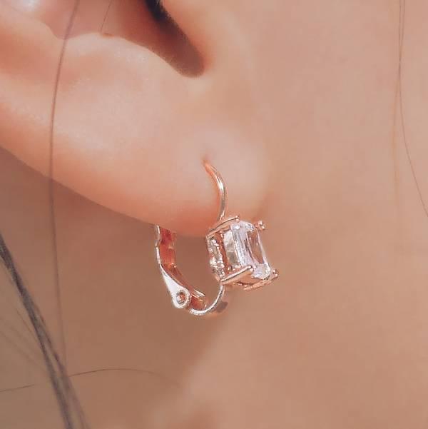 ONCE LITE | 空氣系 - 幻日耳環 * 二色 單鑽耳環 幾何耳環 抗敏耳環 極簡耳環 玫瑰金耳環 耳環 銀色耳環 鋯石耳環