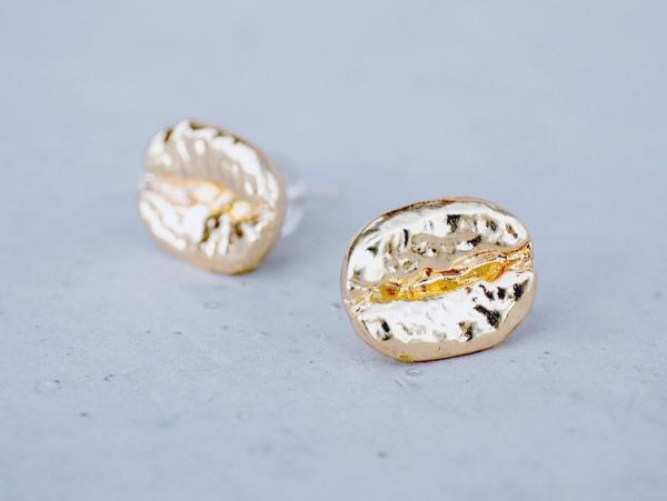 COFFEE BEAN耳環 - 三色 手作 飾品 純銀耳針 咖啡豆 耳環
