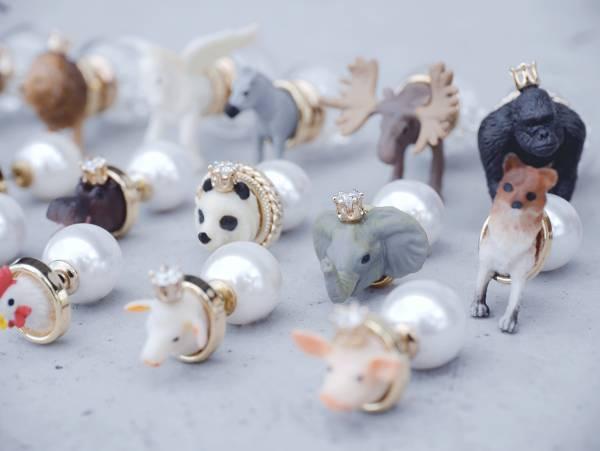 玻璃球耳環後扣 zoo earring