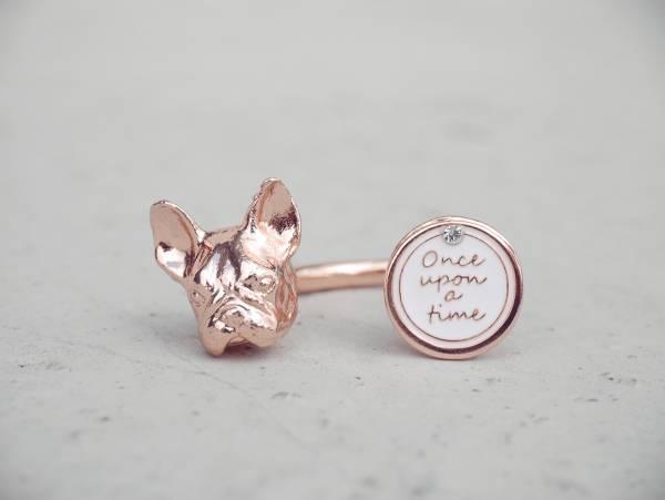 凝視法鬥戒指 - 兩色 凝視 法國鬥牛犬 戒指
