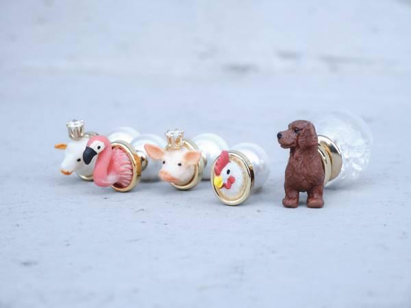 迷你動物園 - 可愛系五款 動物園 綿羊 紅鶴 小豬 公雞 臘腸犬 耳環